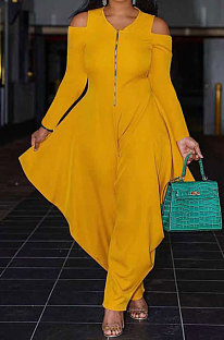 Yellow Modest  Newest Long Sleeve Off Shoulder Zip Front Loose Solid Color Jumpsuits AMX6057-2