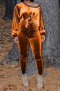 Orange Women Long Sleeve Round Collar Korea Velvet Solid Color Sexy Long Pants Sets MR2123-2