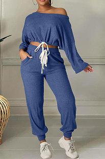 Peacock Blue Cotton Blend A Wrod Shoulder Long Sleeve T Shirts Sweat Pants Sets HHM6528-4