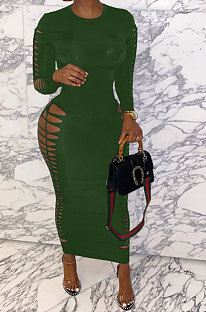 Army Green Women Sexy Pure Color Long Sleeve Hollow Out Mid Waist Round Collar Long Dress NYP013-4