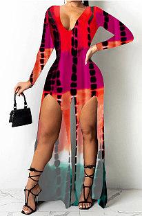 Pink Cotton Blend Print Long Sleeve V Neck Zip Back Slim Fitting Slit Jumpsuits JH275-2