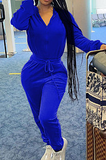 Blue Casual Newest Velvet Long Sleeve Stand Neck Zip Front Collcet Waist Drawsting Jumpsuits LY047-3