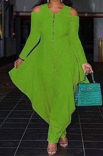Green Modest  Newest Long Sleeve Off Shoulder Zip Front Loose Solid Color Jumpsuits AMX6057-5