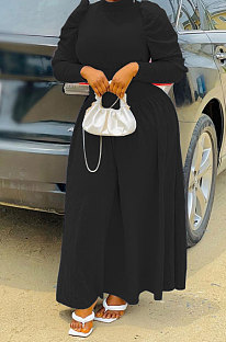 Black Women Fashion Casual Tight Solid Color High Collar Pullover Collect Waist Puff Sleeve Long Dress MR2124-1