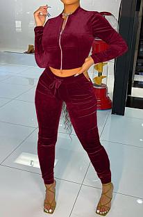 Wine Red Wholesale Velvet Long Sleeve With Pocket Zip Coat Pencil Pants Sport Sets LML268-4