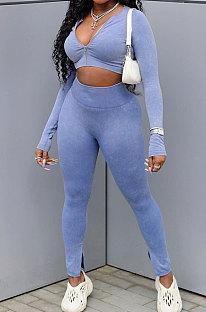 Blue Cotton Blend Wholesale Long Sleeve Zip Front Crop Tops Bodycon Pants Sets KY3097-2