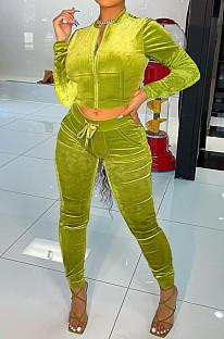Green Wholesale Velvet Long Sleeve With Pocket Zip Coat Pencil Pants Sport Sets LML268-5