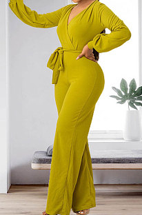 Green Sexy Simple Long Sleeve V Neck Bandage Wide Leg Jumpsuits HMR6055