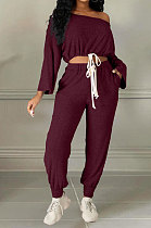Rose Red Cotton Blend A Wrod Shoulder Long Sleeve T Shirts Sweat Pants Sets HHM6528-3