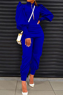 Blue Women Fashion Solid Color Puff Sleeve Zipper High Waist Pants Sets MR2120-4