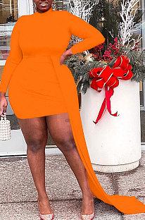 Neon Orange Women Long Sleeve Round Collar Irregular Plus Mini Dress HZF57821-3