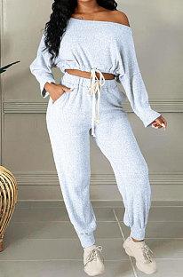 White Cotton Blend A Wrod Shoulder Long Sleeve T Shirts Sweat Pants Sets HHM6528-1