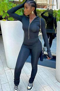Black Women Solid Color Long Sleeve Zipper Ruffle Pants Mid Waist Bodycon Jumpsuits AA5281-1