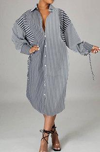 Gray Women Fashion Stripe Spliced Long Sleeve Single-Breasted Turn-DownCollar Cardigan T Shirt/Shirt Dress ZYL3008