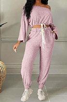 Pink Cotton Blend A Wrod Shoulder Long Sleeve T Shirts Sweat Pants Sets HHM6528-2