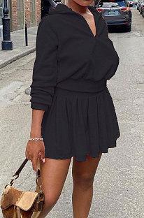 Black Newest Cotton Blend Velvet Long Sleeve Zipper Tops Mini Skirts Tennis Wear Sport Sets DN8632-1