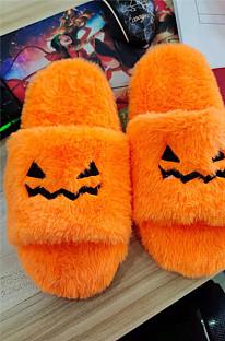Halloween Pumpkin Soft Fluffy Slippers