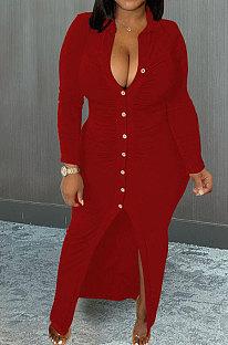 Wine Red Wholesale Velvet Long Sleeve Lapel Neck Single-Breasted Ruffle Shirt Dress MTY6579-3