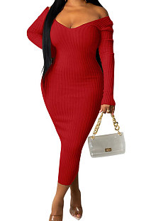 Red Euramerican Women Autumn Winter V Collar Off Shoulder Solid Color Ribber Bodycon Sexy Long Dress Q951-5