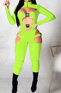 Neon Green Women Sexy Club Wear Buckle Pure Color Zipper Bodycon Jumpsuits Q955-6