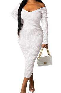 White Euramerican Women Autumn Winter V Collar Off Shoulder Solid Color Ribber Bodycon Sexy Long Dress Q951-1