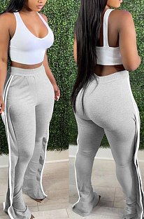 Gray Casual Cute Side Strip Elastic Force Pants MD444-1