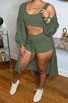 Army Green Autumn Winter Ribber Long Sleeve Cardigan Coat+Tank Shorts Three Piece N9303-3