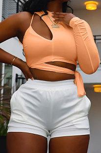 Orange Personality Pure Color Single Sleeve Side Bandage Bodycon T-Shirts KY3098-4