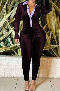 Purple Wholesale Women Spliced Long Sleeve Lapel Neck Collect Waist Bodycon Jumpsuits HG137-2