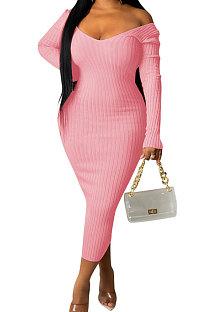 Pink Euramerican Women Autumn Winter V Collar Off Shoulder Solid Color Ribber Bodycon Sexy Long Dress Q951-3
