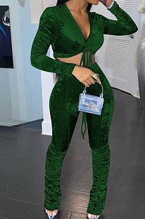 Dark Green Women Korea Velvet Ruffle Drawsting Sexy V Collar Pure Color Crop Pants Sets XQ1147-5
