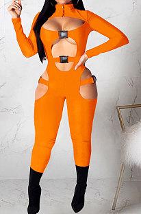 Orange Women Sexy Club Wear Buckle Pure Color Zipper Bodycon Jumpsuits Q955-4