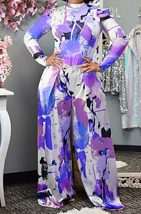 Blue Purple Women Autumn Winter Long Sleeve T Shirts Wide Leg Pants Printing Pants Sets RMH8944-7