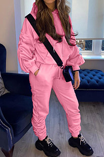 Pink Casual Sport Long Sleeve Pocket Hoodie Sweat Pants Ruffle Solid Color Sets HG139-2