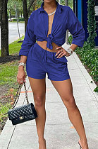 Blue  Modest Pure Color Long Sleeve Lapel Neck Single-Breasted Shirts Shorts Sets N9304-2