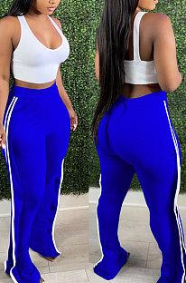 Blue Casual Cute Side Strip Elastic Force Pants MD444-3