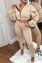 Apricot Autumn Winter Newest Ruffle Sleeve Zip Front Crop Tops Pencil Pants Sport Sets MD445-2