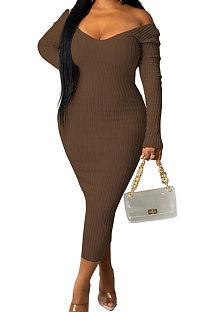 Coffee Euramerican Women Autumn Winter V Collar Off Shoulder Solid Color Ribber Bodycon Sexy Long Dress Q951-9