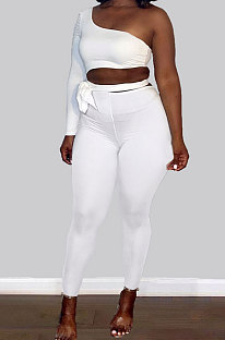 White Sexy Simple Single Sleeve Bandage Crop Tops Pencil Pants Slim Fitting Sets KY3099-2
