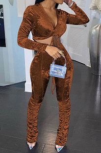 Brown Women Korea Velvet Ruffle Drawsting Sexy V Collar Pure Color Crop Pants Sets XQ1147-6