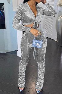 Gray Women Korea Velvet Ruffle Drawsting Sexy V Collar Pure Color Crop Pants Sets XQ1147-2