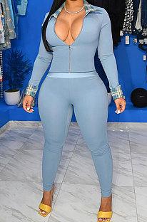 Blue Cotton Blend Casual Long Sleeve Lapel Neck Zipper Tops Capris Pants Sport Sets MK061-1