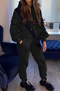 Black Casual Sport Long Sleeve Pocket Hoodie Sweat Pants Ruffle Solid Color Sets HG139-1