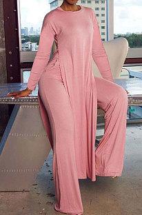 Pink Cottton Blend Round Neck Loose Slit Long T-Shirts Wide Leg Pants Solid Color Sets OH8090-1