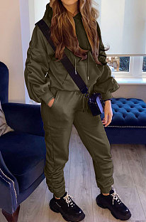Army Green Casual Sport Long Sleeve Pocket Hoodie Sweat Pants Ruffle Solid Color Sets HG139-4