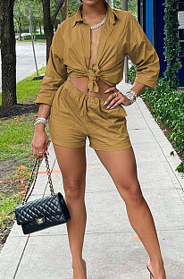 Brown Modest Pure Color Long Sleeve Lapel Neck Single-Breasted Shirts Shorts Sets N9304-1