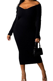 Black Euramerican Women Autumn Winter V Collar Off Shoulder Solid Color Ribber Bodycon Sexy Long Dress Q951-7