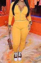 Yellow Cotton Blend Casual Long Sleeve Lapel Neck Zipper Tops Capris Pants Sport Sets MK061-2