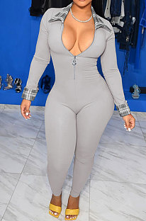 Gray Simple Newest Spliced Long Sleeve Zip Front  Collect Waist Bodycon Jumpsuits TK6199-4