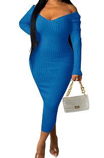 Blue Euramerican Women Autumn Winter V Collar Off Shoulder Solid Color Ribber Bodycon Sexy Long Dress Q951-8